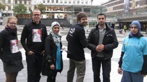 Under 2011 fortsatte vi vårt samarbete med Svenska Muslimer för Fred och Rättvisa, här vid en gemensam manifestation på Fredsdagen den 21 september.